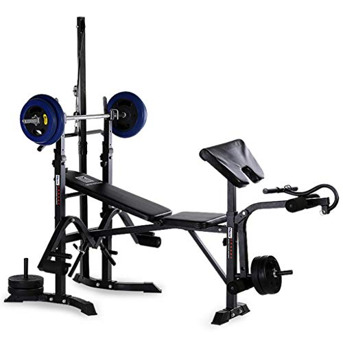 Adjustable Weight Bench with Dumbbell Rack, Utility Barbell Lifting Press Exercise Dumbbell Bench with Fitness Rope, Home G-ym Multi-Functional Strength Training Sit Up Abs Benchs (Black)