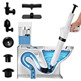 9 in 1 White Air Pressure Plunger Kits,Air Drain Blaster Gun Plunger High Pressure with 5 Heads,Detachable Assembly Sewer Toilet Kitchen Sink For Clogged Toilet and Kitchen Bathroom Tubs