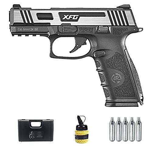 Pistola ICS BLE XFG Blowback CO2 (6MM) | Arma Corta de Airsoft (Bolas de plástico 6mm) semiautomática Tipo APX + maletín de PVC + biberón + bombonas