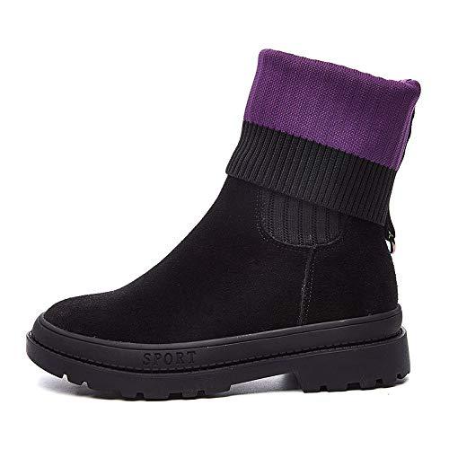 Shukun enkellaarzen voor dames, dames, met dikke zolen, gevoerde sokken, sokken, laarzen