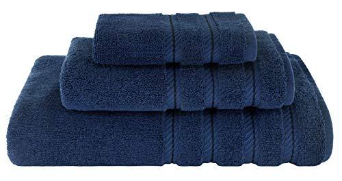 American Soft Linen 3 Piece, Turkish Cotton Premium & Luxury Towels Bathroom Sets, 1 Bath Towel 27x54 inch, 1 Hand Towel 16x28 inch & 1 Washcloth 13x13 inch Navy Blue