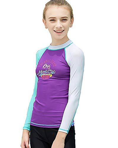 DaobaKIDS Badeshirt für Mädchen Schwimmshirt mit UV-Schutz Schnelltrocknendes Rash Guard Stretch Langarmshirt für Kinder