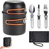 wismurhi - set di pentole da campeggio con cucchiaio/forchetta/coltello pieghevole in acciaio inox per 1-2 persone, attrezzatura da cucina da viaggio (arancia)