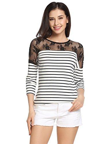 Meaneor Damen T-Shirt Bluse Shirts Langarm Hemd Oberteile Asymmetrisch Gestreift Spleiß Casual Tunika, Weiß stripes, EU 40(Herstellergröße: L)