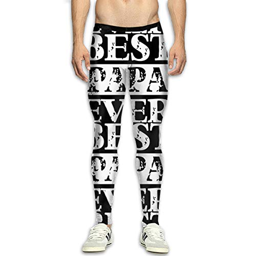 Best Papa Ever Men Compression Leggings Base Under Layer Cool Dry Workout Long Pants for Men White