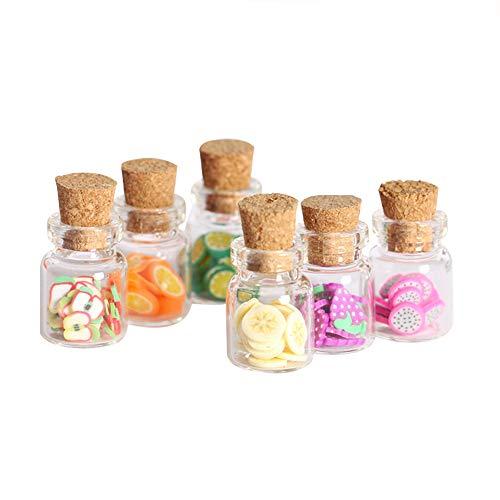 witgift Miniatura botella de cristal con tapa de madera para decoración de casa de muñecas, accesorios decorativos en miniatura, botellas de cristal con rodajas de fruta
