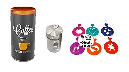 Premium Paddose CO für 18 Kaffeepads, Dose, Pad, dazu Schokostreuer aus Edelstahl für Kakao, Cappuccino Schablonen 6 Stück