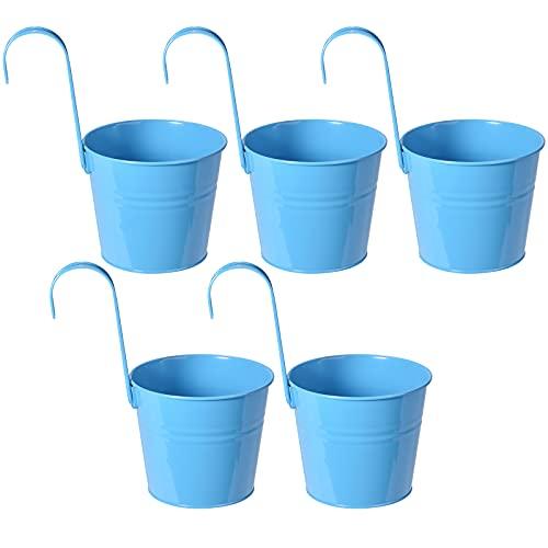 LQKYWNA 5pcs Rimovibile Vasi Portavasi Portafiori con Gancio,Vasi da Fiori in Metallo Vaso con Foro di Drenaggio per Giardino Hanging Balcone Home Decor