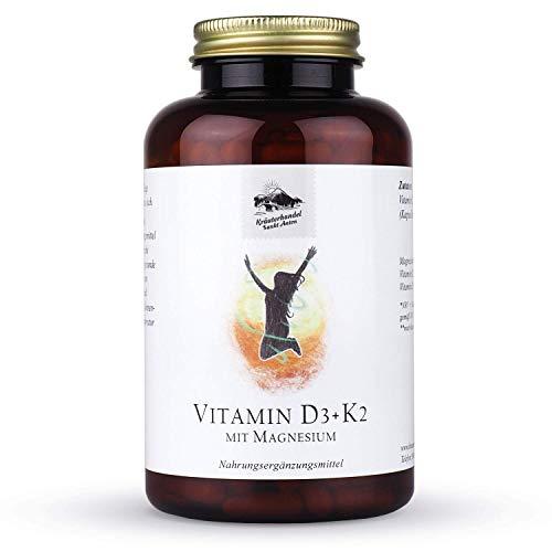 KRÄUTERHANDEL SANKT ANTON® - Vitamin D3 + K2 Kapseln - 100 mg Magnesium - Hochdosiert - Mit Magnesium - Deutsche Premium Qualität (300 Kapseln)