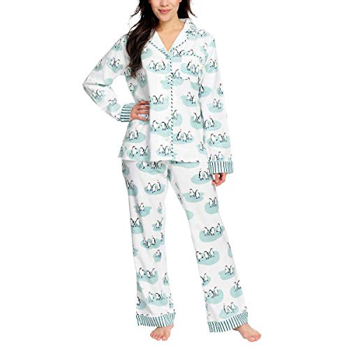 munki munki Pajamas for Women Classic Flannel PJ Set Long Sleeve (Costco Shopping White, 3X)