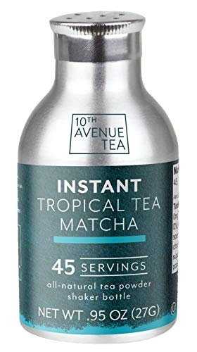 10th Avenue Tea Instant Tropical Matcha Tea Powder (45 servings) | Serve Iced or Hot, Lattes, Drink Recipes, Water Enhancer | Antioxidants, Natural Energy, Sugar-Free