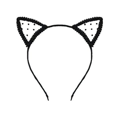 Joyfeel buy 1 Pièce Chat Oreille Forme Femmes Enfants Bande De Cheveux Élégant Mignon Noir Paillettes Bandeau Cheveux Hoop Accessoires pour Partie/Dan