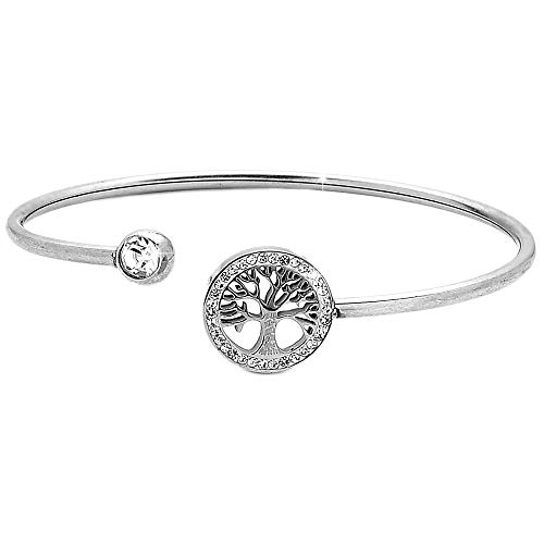 Beloved ❤️ Bracciale da donna in acciaio snodabile, bangle semirigido, con terminale a albero della vita con contorno in cristalli