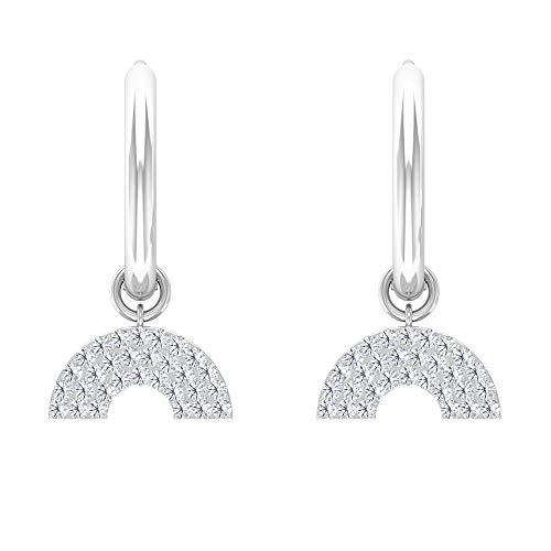 HI-SI - Pendientes de aro con forma de diamante y medio disco, modernos, Metal, Diamond,