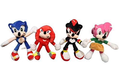 QIMA Sonic Toy 4 unids/Lote Sonic World Adventure Plush Sonic Werehog Tails Figuras de acción Shadow Knuckles Sonic The Hedgehog Peluches Niños Juguetes para niños