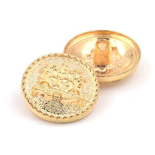10PCS Bottoni Vestiti - Bottone in Metallo con Bottoni a Forma di Pulsante per Cucire Moda per Blazer, Cappotto, Divisa, Camicia, Abito e Giacca (Oro, 25mm)