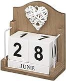 Calendario perpetuo de escritorio con corazón de madera trenzada
