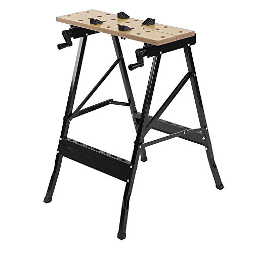 Work Bench,MultiPurpose Portable Work Benches Garage Table Sawhorse Folding Workbench and Vice Workshop Shed DIY Work Tool Bench Table Stand with Clamp Pegs and Tool Holders for Carpenter Builder