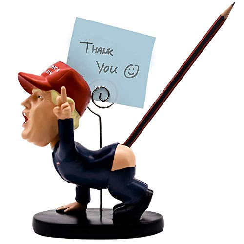 Zevni Pencil Holder Pen Holder Spoof Trump Pen Holder Resin Shaking Head Doll Business Card Holder Office Gift Practical Personality Function Decoration As Gift Funny