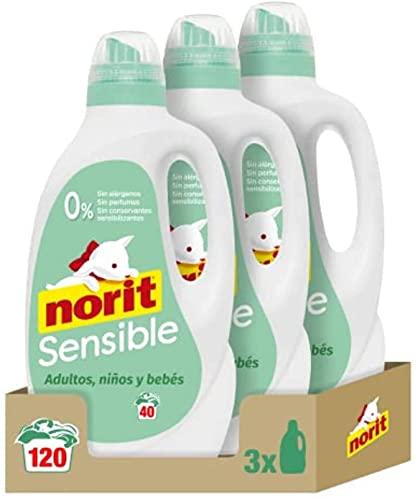 NORIT Sensible - Detergente Líquido Hipoalergénico para Pieles Sensibles y Atópicas, Apto para Adultos, Niños y Bebés, Pack de 3 X 2120 Ml, 6360 Mililitros