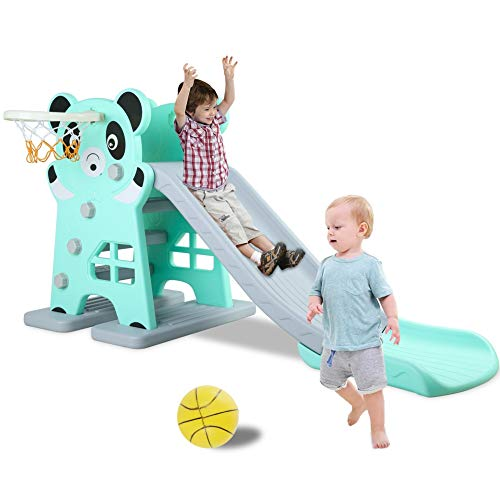 LAZY BUDDY Kids Slide, Sturdy Toddler Playground Slipping Slide Climber for Indoor Outdoors Use, Children Toy Playset with Basketball Hoop for Outside Games, Playground Equipment Set