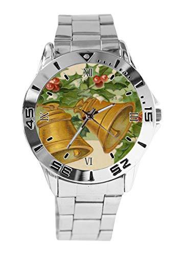 Reloj de Pulsera analógico con diseño de Campanas Doradas y Acebo congelado,...