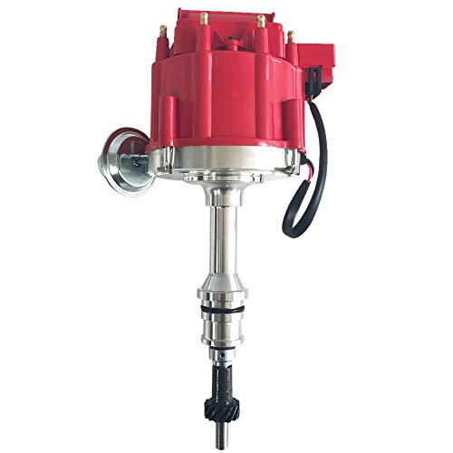 TRIL GEAR HEI Ignition Distributor 1030213 JM6502R JM6502BL with Red Cap Rotor Fits for SBF Ford Small Block 260 289 302