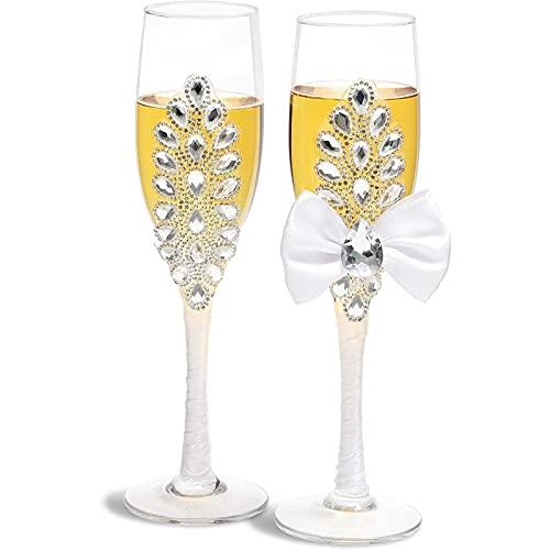 Copas de champán para novia y novio (juego de 2)