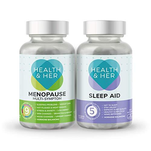 Health & Her Menopause Tablets for Women Day & Night - Menopause Multi-Symptom Supplement & Menopause Sleep Aid 30 Capsules