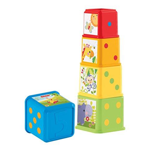Fisher-Price CDC52 - Bunte Stapelwürfel Baby Spielzeug zum Sortieren und Stapeln, Spielzeug ab 6 Monaten