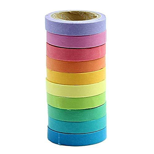 1st market 10ピース/セットロールテープ装飾和紙レインボー付箋紙粘着テープ付箋DIYツールクリエイティブで便利