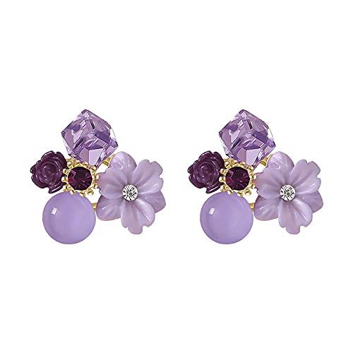 Orecchini a bottone con fiore di cristallo viola per gioielli da donna Accessori per set di eleganza da ragazza per feste di matrimonio
