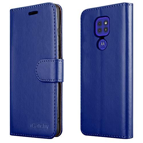 Schutzhülle für Motorola Moto G9 Play (16,5 cm / 6,5 Zoll), Leder, mit Standfunktion, Blau