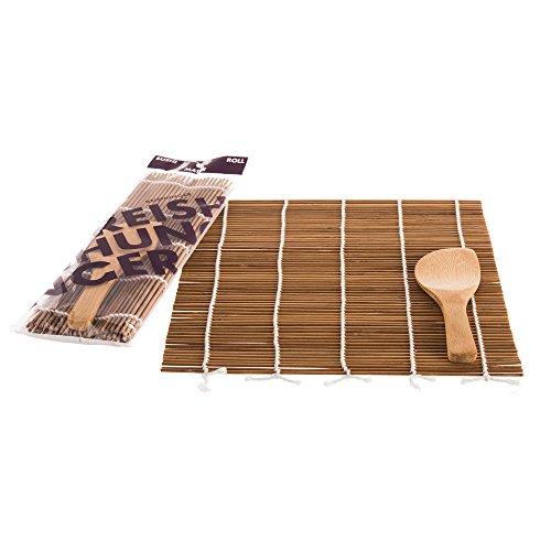 Reishunger Sushi Rollmatte aus Bambus mit Löffel (24x24cm) - Für die Zubereitung von Maki-Sushi - erhältlich als 1er, 4er und 10er Pack