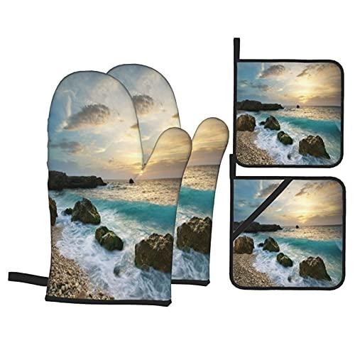 Guanti da forno e presine Set di 4,Ocean, Seascape Composizione della natura roc,guanti da barbecue in poliestere con fodera trapuntata cuscinetti caldi resistenti per in cucina Cottura alla griglia