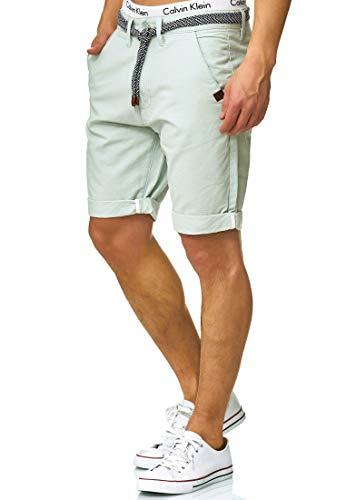 Indicode Herren Acton Chino Shorts mit Kordel-Gürtel aus 100% Baumwolle   Kurze Hose Regular Fit Bermudas Sommerhose Herrenshorts Short Men Pants Chinohose kurz für Männer Surf Spray XXL