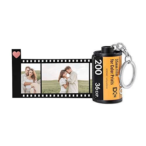 Jewel Llaveros Fotos Personalizados con 10 Fotos Grabado Impresión Película Rollo Llaveros Llavero con Imagen de Coche Regalo para Hombres Mujeres Día de San Valentín Día de la Madre