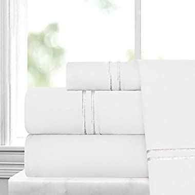 Egyptian Luxury Embroidered Bed Sheet Set – Ultra Soft Premium 1500 Series w/ Beautiful Stripe Embroidery – Wrinkle & Fade Resistant, Hypoallergenic 4 Piece Set - King - White/Silver