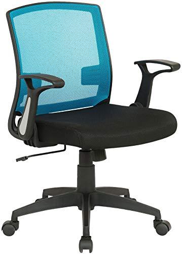 CLP Sedia Scrivania Con Rotelle Renton In Rete Traspirante I Sedia Ufficio Ergonomica Con Braccioli Girevole 360°, Colore:nero/blu