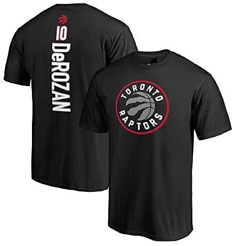 XSJY Camiseta NBA Men's Jersey Raptors # 10 Demar Drozan Impreso Suelto Cómodo/Transpirable/Fresco Casual Algodón Camisetas Tops,Negro,L:170~175cm