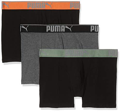PUMA Herren Lifestyle Sueded Cotton 3p Box Badehose, Schwarz (Black/Orange 318), XL (3er Pack)