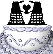 Meijiafei Wedding Cake Topper - Panzer with Hearts Silhouette for Doctor Who Inspired Dalek