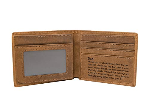 Grabado RFID personalizado bloqueo Bifold elegante cartera para hombres hechos a mano San Valentín Navidad regalos