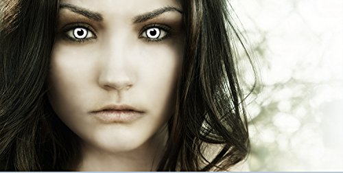 """Farbige Kontaktlinsen """"Vampir"""" + Kunstblut Kapseln + Behälter von FXContacts in weiß, weich, ohne Stärke als 2er Pack – angenehm zu tragen und perfekt zu Halloween, Karneval, Fasching oder Fasnacht - 2"""
