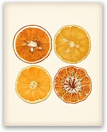 XMYC Impresiones para paredes naranja cítricos rebanada carteles e impresiones Creatividad Fotos Sala Decoración del hogar 19.7x27.6in (50x70cm) sin marco