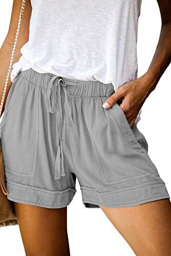 KISSMODA Women's Boho Elastic Waist Drawstring Beach Shorts Casual Summer with Pockets