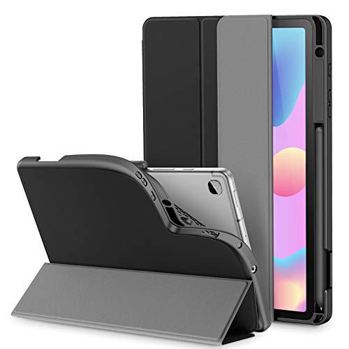 INFILAND Hülle für Galaxy Tab S6 Lite mit S Pen Halter, Superleicht TPU Smart Schutzhülle mit Auto Schlaf/Wach Funktion für Samsung Galaxy Tab S6 Lite 10.4 P615/P610,Schwarz