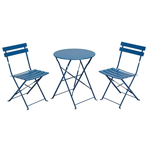 Grand patio Bistro Set 3 Piece Outdoor Weather-Resistant Furniture Set Steel Folding Round Table and Chairs (Peacock Blue)
