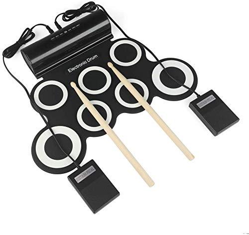 SEESEE.U Tambor de mano electrónico portátil - Tambor plegable USB - Batería de litio DTX - Juego doble altavoz para cumpleaños, Navidad o Año Nuevo