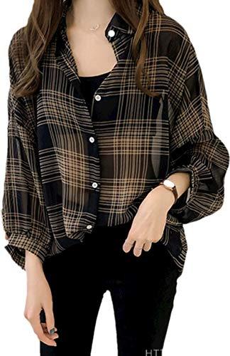 [アルバフィカ] チェックシャツ オーバーサイズ シフォン 薄手 セクシー カジュアル 長袖 (XL, ブラック)パ...